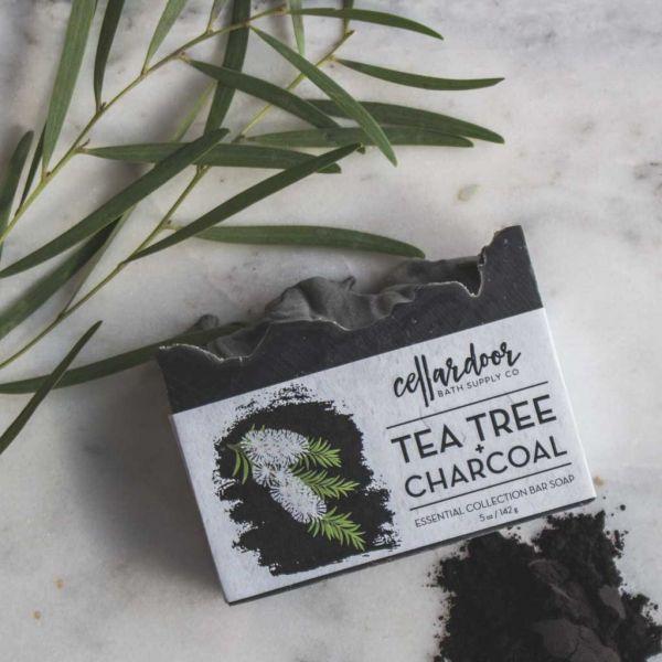 Cellardoor Bath Supply Co. Tea Tree + Charcoal Bar Soap - Seifenstück 142g